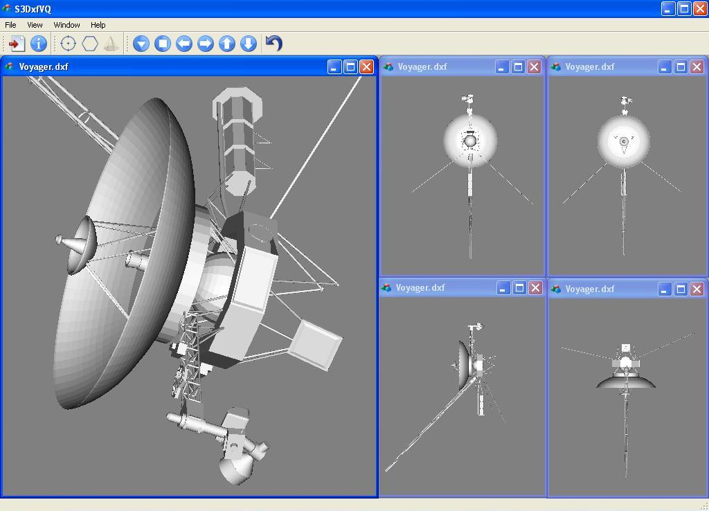 The displaying of the vector image of Voyager spacecraft by S3DxfVQ v.2.1, Viewer of DXF-files