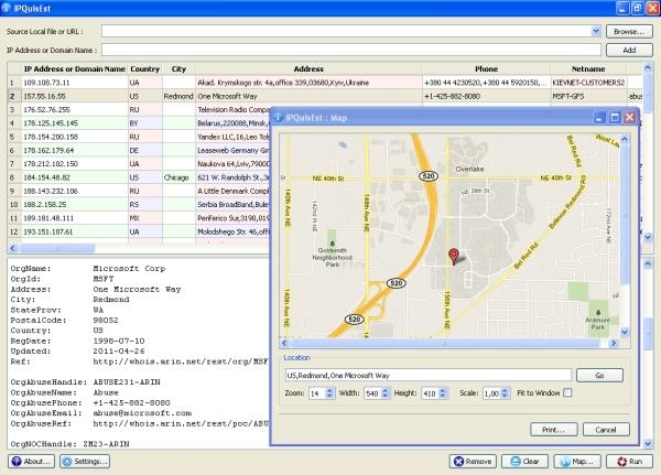 Screenshot of networking client _IPQuisEst_